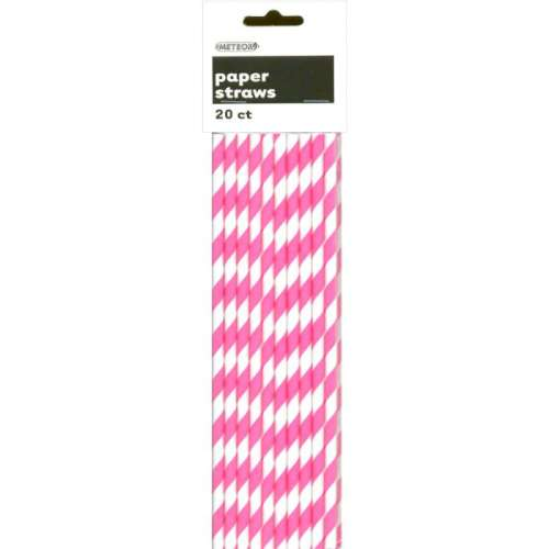 Paper Straws - Pink and White Stripes