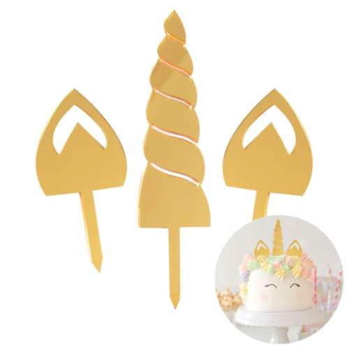 Unicorn Horn & Ears Gold Cake Set