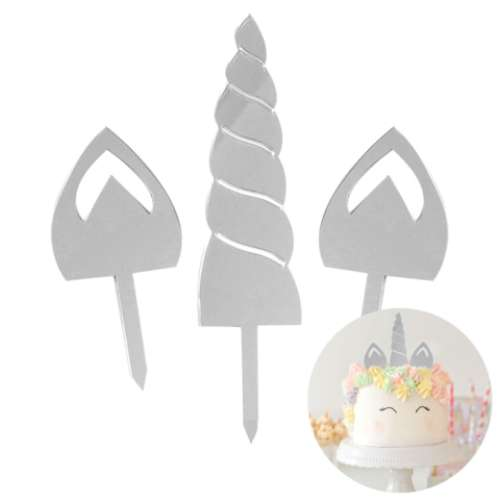 Unicorn Horn & Ears Silver Mirror Cake Set