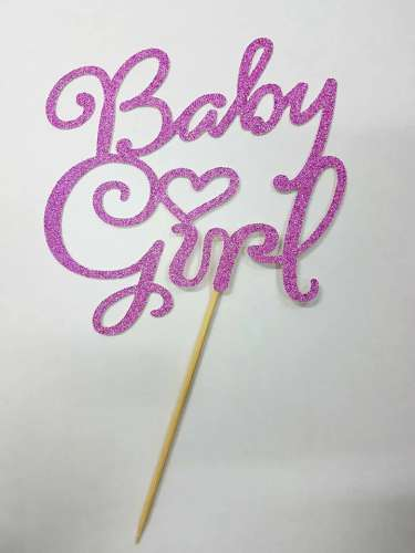 Baby Girl Cake Topper - Pink