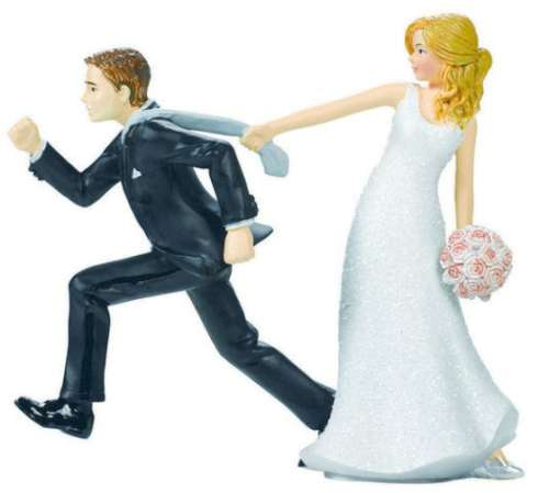 Bride and Groom Escaping Cake Topper