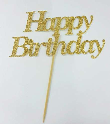 Happy Birthday Cake Topper - Gold Glitter