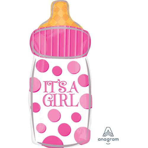 It's A Girl Baby Bottle Foil Balloon