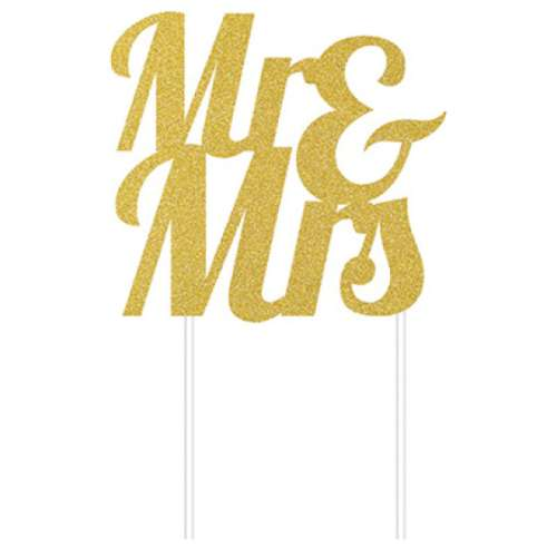 Mr and Mrs Cake Topper - Gold