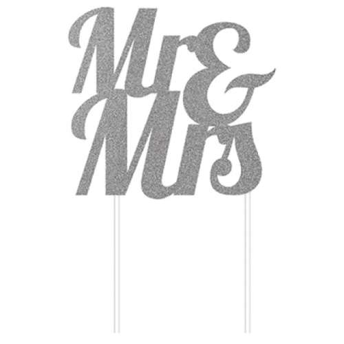 Mr and Mrs Cake Topper - Silver