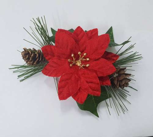 Poinsetta And Ivy Christmas Spray