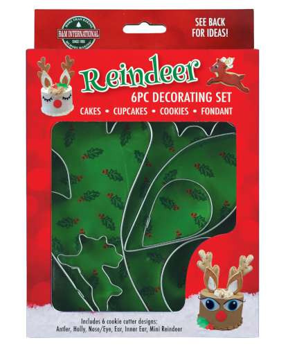 Reindeer 6 pc Cake Decorating Cutter Set
