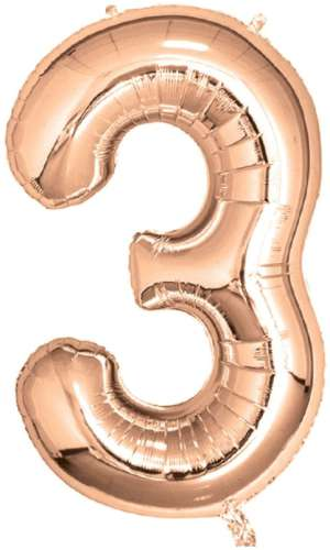 Rose Gold Foil Number Balloon - No 3