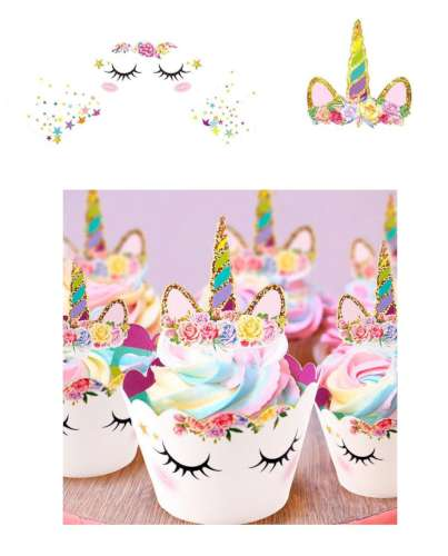 Unicorn Cupcake Wrappers and Pixs
