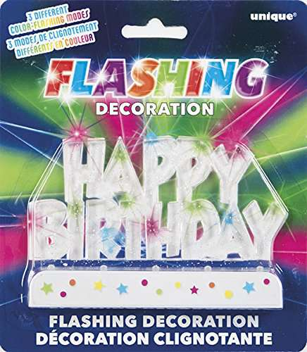 Happy Birthday Flashing Cake Topper - Clear [P13560] - $9 65  : www